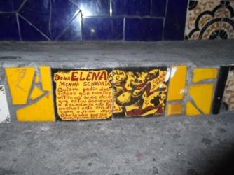 Detalle peldaños, escalera de Selarón, escalera de Selarón en Río de Janeiro