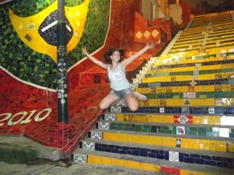 salta y ríe, escalera de Selarón, escalera de Selarón en Río de Janeiro