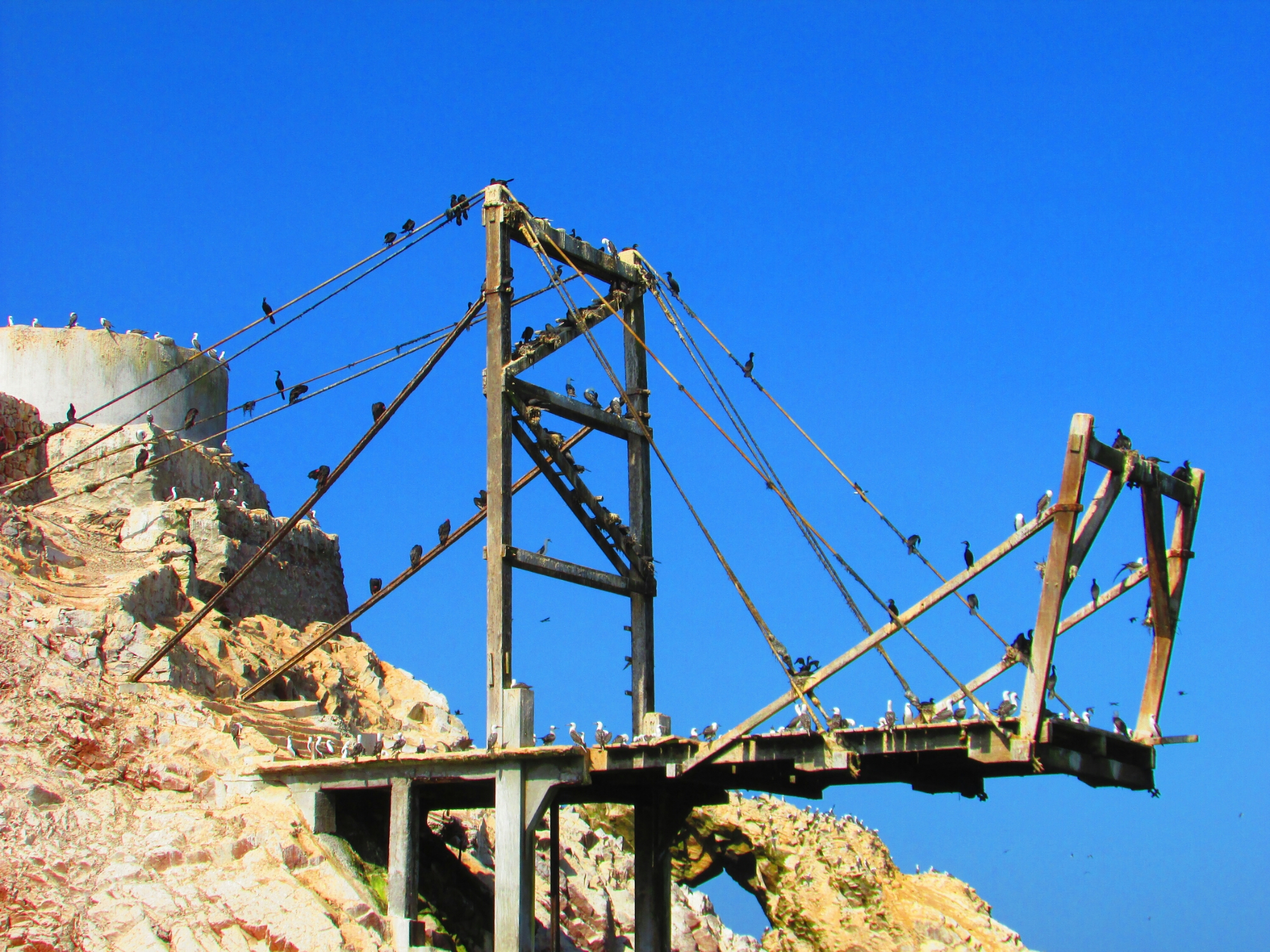 estructura para recoger guano en Isla Ballesta en Paracas, Perú