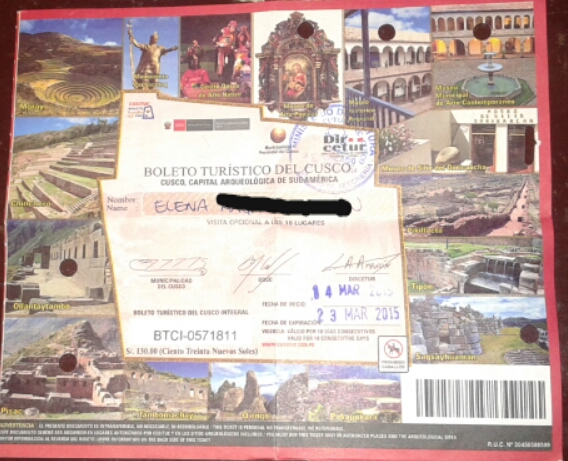 boleto turístico de 10 días de Cuzco por 130 soles